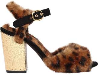 Strategia 90mm Faux Fur & Metallic Leather Sandals