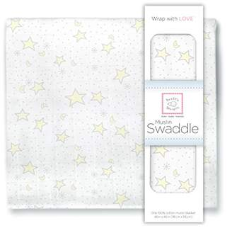 Swaddle Designs X-Large Cotton Muslin Swaddle Blanket, Pastel Yellow Twinkle