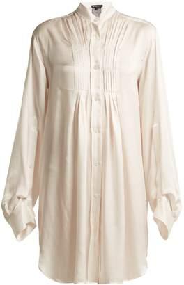 Ann Demeulemeester Long-line silk-blend blouse