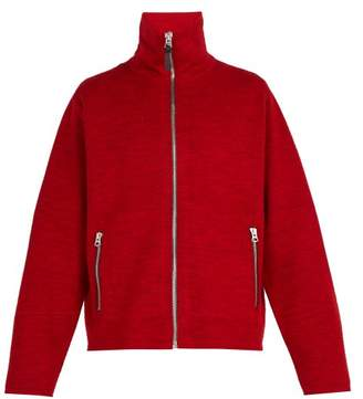 Acne Studios Zip Through Wool Sweater - Mens - Burgundy