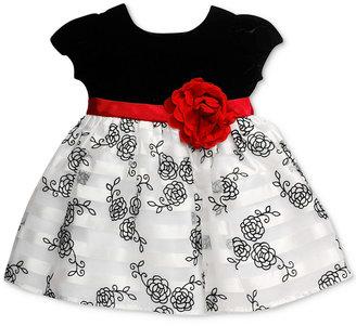 Bonnie Baby Baby Girls' Velvet & Floral-Print Dress $60 thestylecure.com