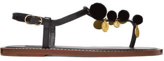 Dolce & Gabbana Pompom And Charm-embellished Lizard-effect Leather Sandals - Black