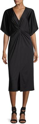 kensie Knot-Front Jersey Dress, Black $55 thestylecure.com