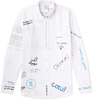Vetements Oversized Button-Down Collar Printed Cotton-Poplin Shirt