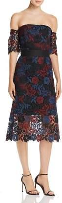 Sam Edelman Off-the-Shoulder Lace Illusion Dress