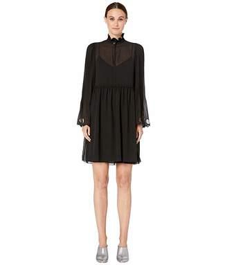 See by Chloe Plisse Georgette Long Sleeve Dress