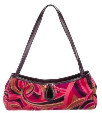 Versace Suede Printed Handle Bag