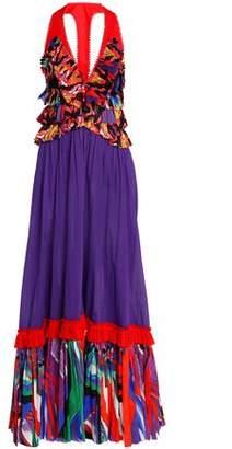 Roberto Cavalli Paneled Printed Cotton Maxi Dress