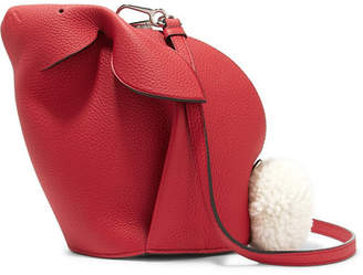 Loewe Bunny Mini Shearling-trimmed Textured-leather Shoulder Bag - one size