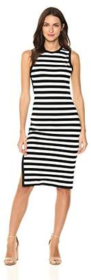 Susana Monaco Women's Striped Sleeveless Crew Dress with Side Leg Slit