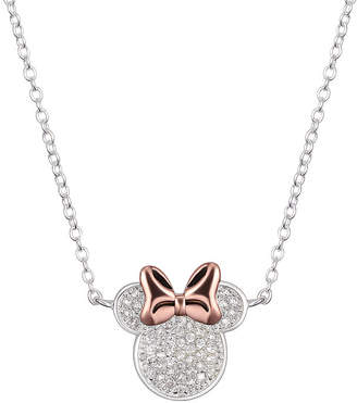 Disney Womens Clear Cubic Zirconia Pure Silver Over Brass Minnie Mouse Pendant Necklace