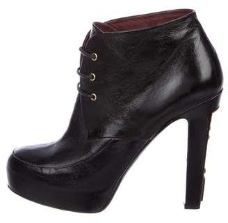 Chanel Leather Platform Ankle Boots