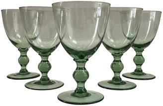 One Kings Lane Vintage Green Crystal Stemmed Goblets,Set of 5