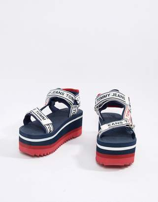 Tommy Jeans Flatform Sandals With All Over Logo Tape