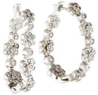Ralph Lauren K 18K Diamond Flower Inside-Out Hoop Earrings