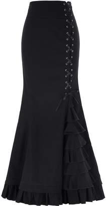 Belle Classic Cotton Women's Gothic Long Skirt High Waist Lace Up Size XL BP203-1