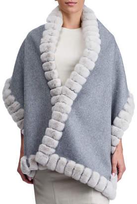 Gorski Wool Stole w/ Rex Rabbit Fur Trim