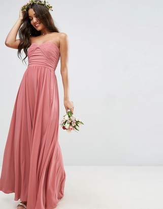 Asos Design DESIGN Bridesmaid bow front bandeau maxi dress