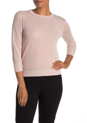 Vince Sheer Textured Knit 3/4 Sleeve Pullover