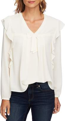 CeCe Ruffle V-Neck Blouse