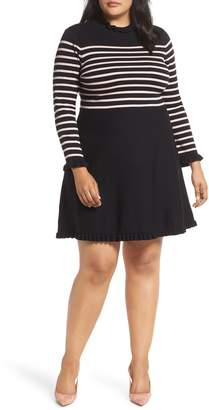 1901 Mock Neck Stripe Sweater Dress