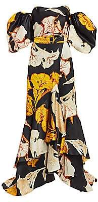 Johanna Ortiz Women's Cosmic Origin Removable Wrap Skirt Floral Ruffle Silk Gown