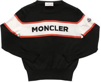 Moncler Logo Intarsia Cotton Knit Sweater