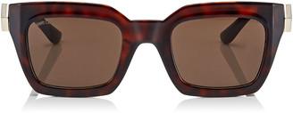 Jimmy Choo MAIKA Brown Cat Eye Sunglasses with Havana Frame