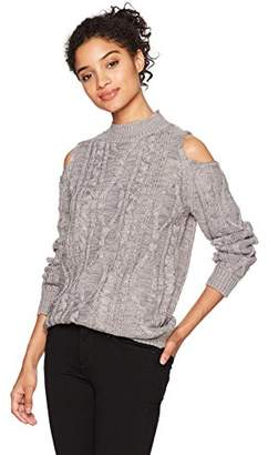 Love by Design Junior's Long Sleeve Cold Shoulder Mock Neck Cable Stitch Pullover