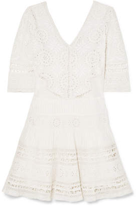 LoveShackFancy Paige Crochet-trimmed Broderie Anglaise Cotton Mini Dress - Off-white