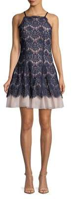 Betsy & Adam Lace Fit-and-Flare Dress