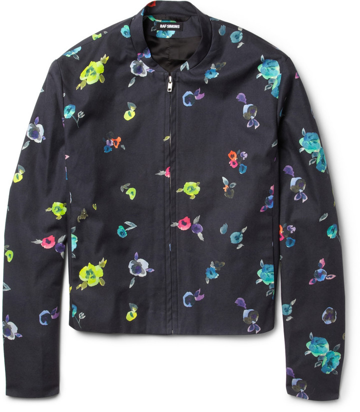 Raf Simons Flower-Print Cotton-Twill Bomber Jacket