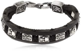 Florentine Silver & Leather Bracelet