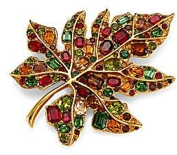 Kenneth Jay Lane Women's 22K Goldplated & Multicolor Glass Stone Large Leaf Pin
