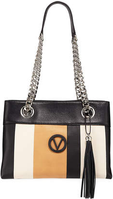 Mario Valentino Valentino By Kali Striped Leather Chain-Strap Tote Bag