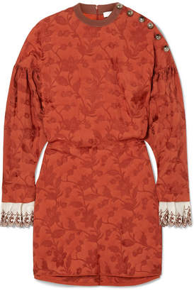 Chloé Embroidered Silk Blend-trimmed Jacquard Mini Dress