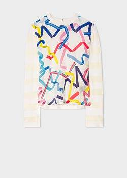 Paul Smith Women's White 'Ribbon' Print Knitted Sweater