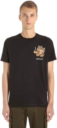 MHI Dragon Embroidered Cotton Jersey T-Shirt