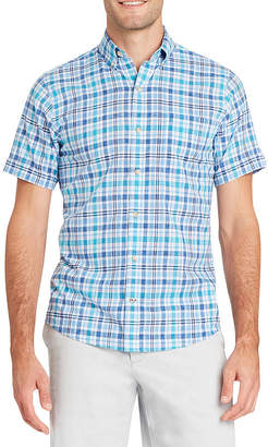 Izod Dockside Chambray Short Sleeve Plaid Button-Front Shirt