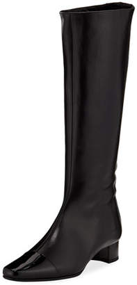 Manolo Blahnik Wakia Leather Cap-Toe Knee Boot