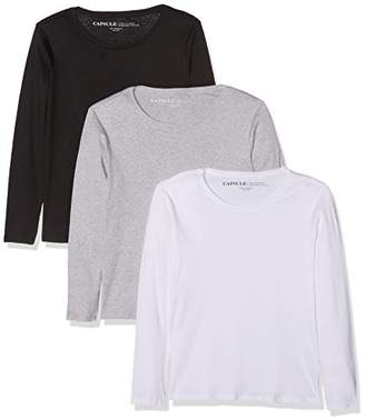 Simply Be Women's Pack 3 T-Shirts Regular Fit Long Sleeve Long Sleeve Top, Multicoloured (Blk/WHT/gml), (Manufacturer Size: 40/42)