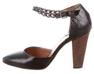 Clements Ribeiro Leather Ankle Strap Pumps