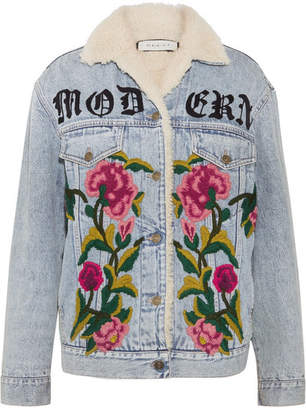 Gucci Shearling-lined Embroidered Denim And Jacquard Jacket - Light denim