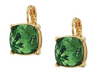 Kenneth Jay Lane 12 mm Gold Eurowire/Erenite Faceted Square Stone Earrings