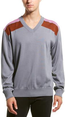 Lanvin Shoulder Bands V-Neck Wool-Blend Sweater