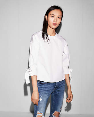Express Tie Sleeve Cotton Blouse