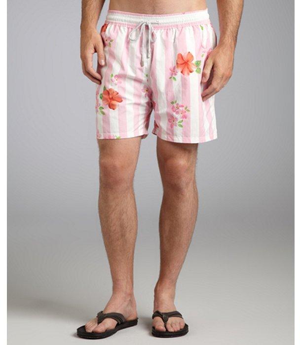 Vilebrequin rose floral stripe print 'Moorea' swim trunks