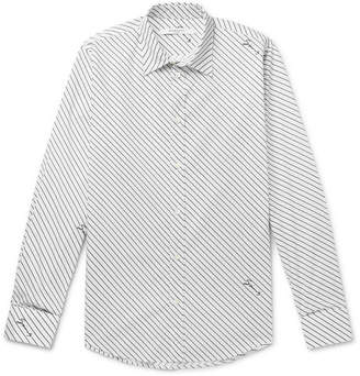 Givenchy Slim-fit Logo-print Striped Cotton-poplin Shirt - White
