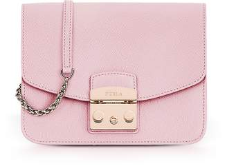 Furla Camelia Pink Lizard Printed Leather Metropolis Small Crossbody Bag