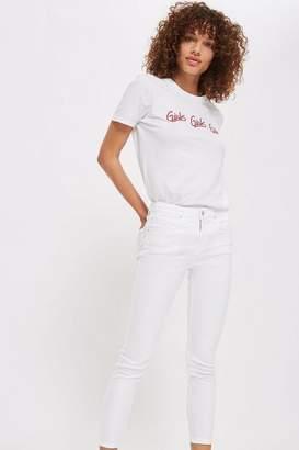Topshop Womens Petite White Jamie Jeans